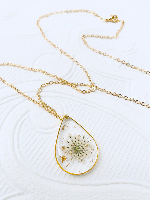 Pressed Flower Necklace | White