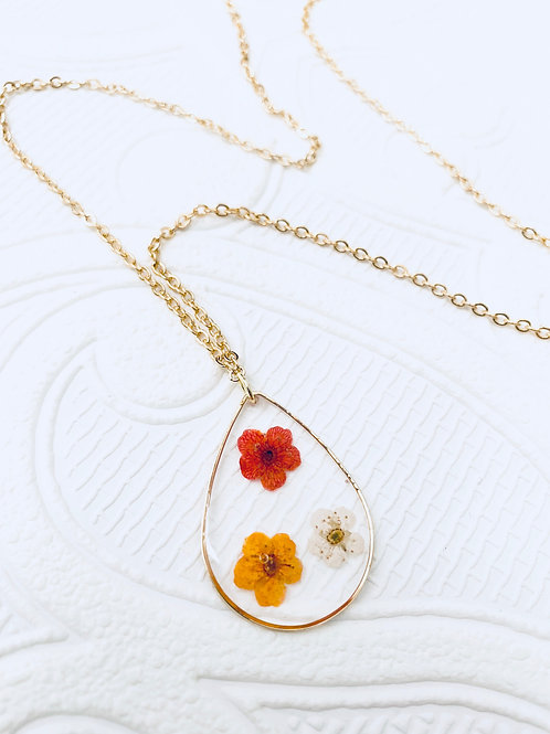 Pressed Flower Necklace | Orange