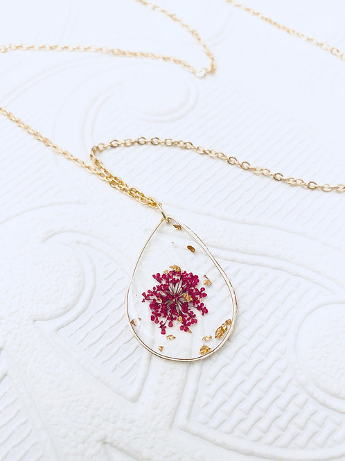 Pressed Flower Necklace | Magenta