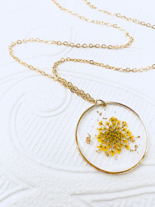 Pressed Flower Necklace | Yellow