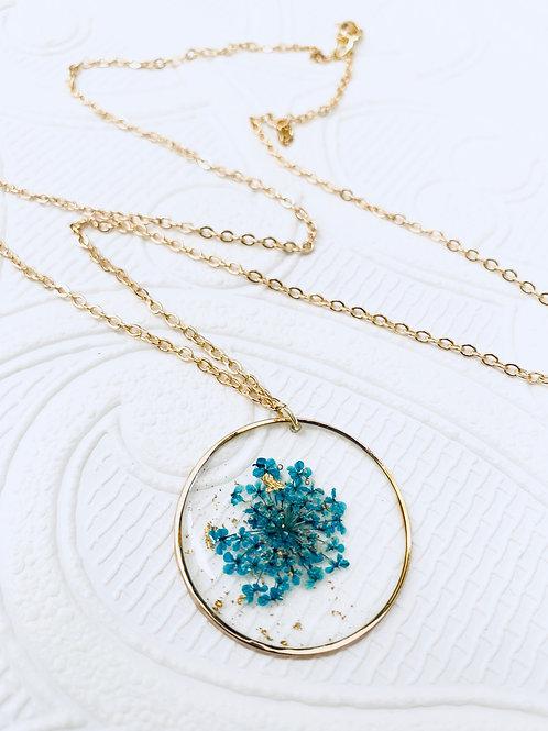 Pressed Flower Necklace | Teal