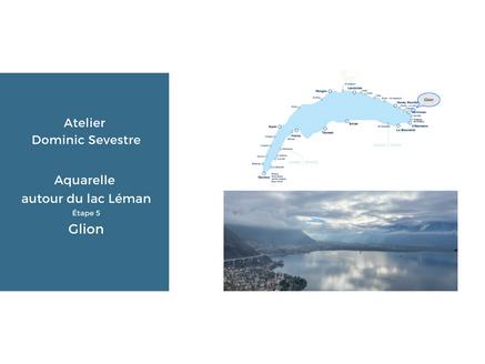 Aquarelle Autour du lac Léman / Glion