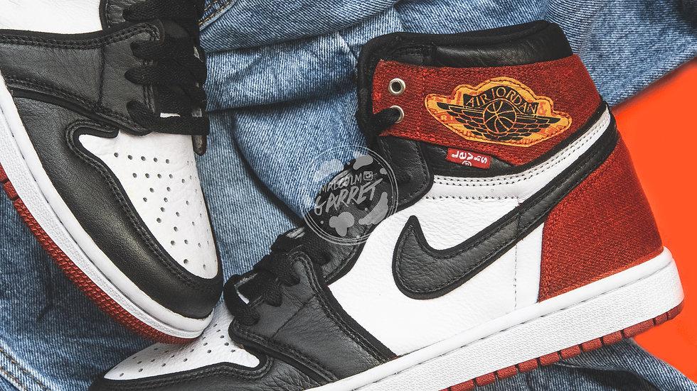 Air Jordan Retro 1 Levi Denim (Red) w/ Shoe