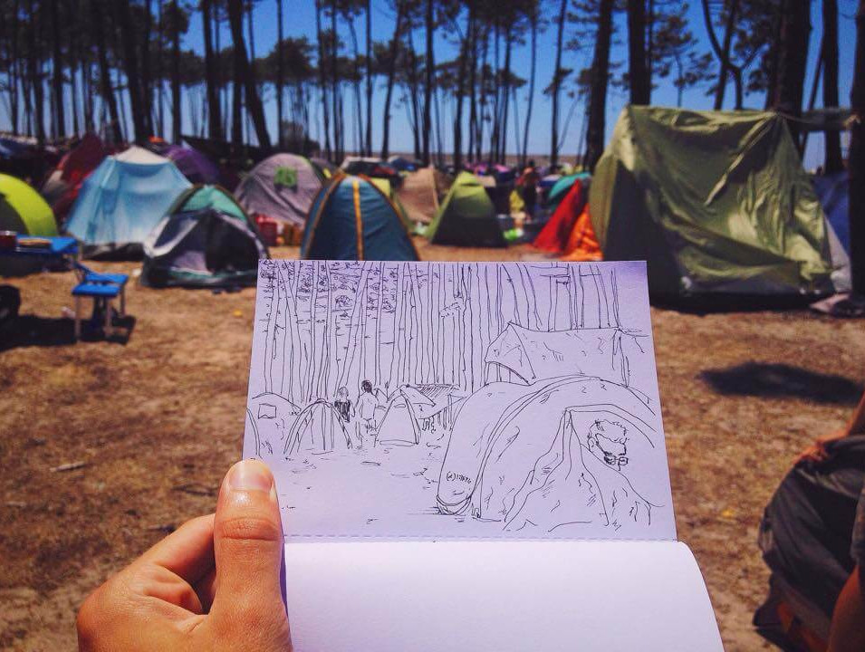 Desenho em Festival Músicas do Mundo em Sines.