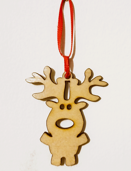 Cute Reindeer Ornament-Curly Maple