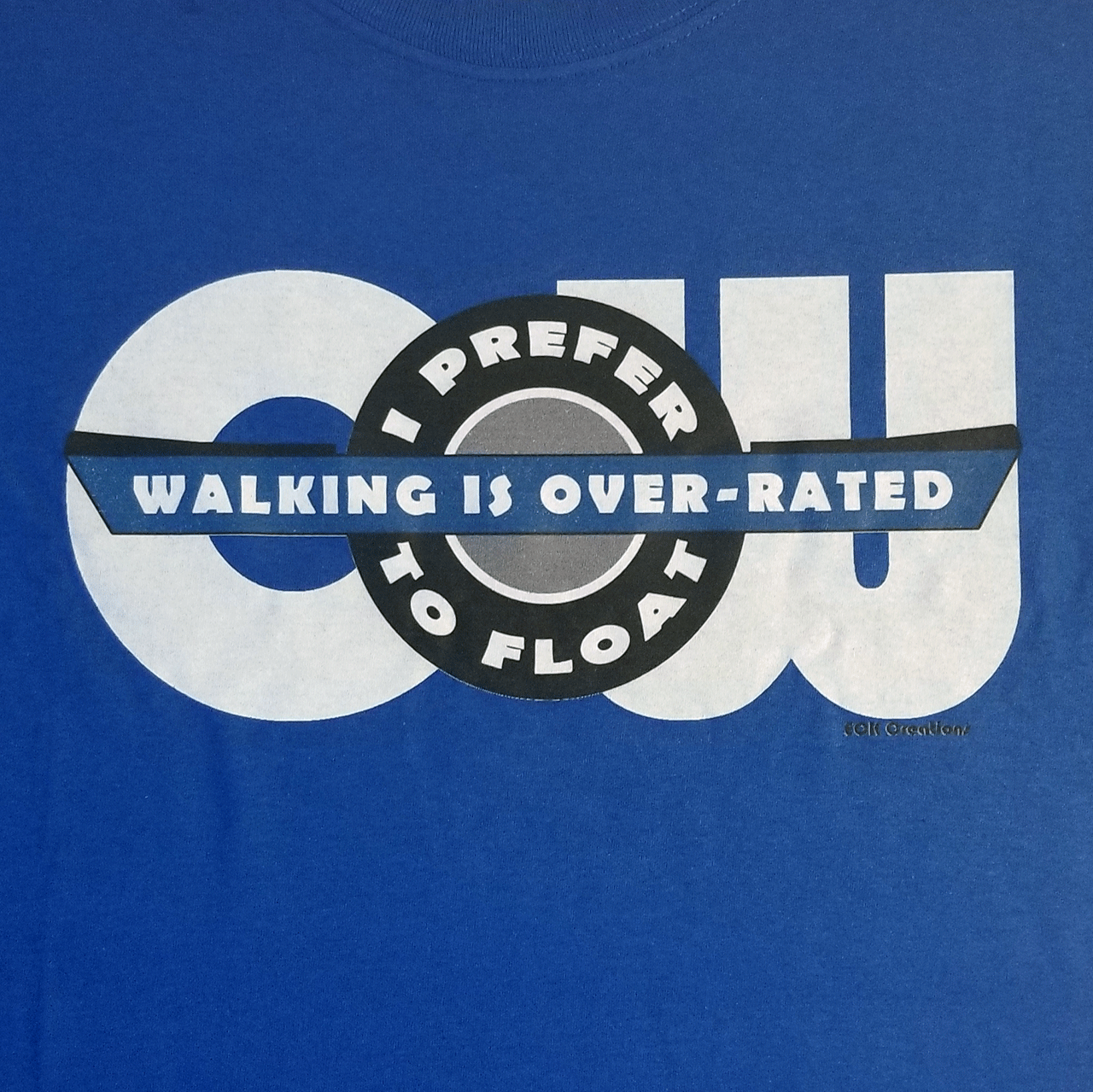 Close up of Blue T-shirt logo