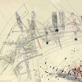 """Roberto Matta (1911 - 2002) It's Not A Question of Superman but of integREAL the possible """"dialectical humanism"""" humanity must be the synthesis, 1950 Graphite and color crayon on paper 11.40 x 42.90 in Contact For Price"""