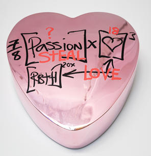 """Brendan Murphy """"Passion Steal Love Candy Heart"""", 2021 Wall sculpture with letters and symbols with chrome 24 x 24 x 7 in"""