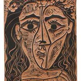 Pablo Picasso  (1881 - 1973) Tete de Femme a la Couronne de Fleurs 1964 (40/100) Terracotta plaque with black engobe 13 x 10 in SOLD