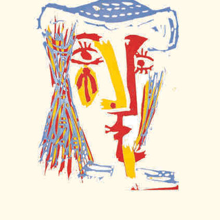 Pablo Picasso  (1881 - 1973) Femme au chapeau de paille bleue 1962 linocut in colors 14 x 11 in SOLD
