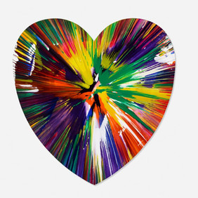 Damien Hirst (b. 1965) Heart Spin Painting, 2009 Acrylic on Paper 21 x 20.25 in Contact For Price