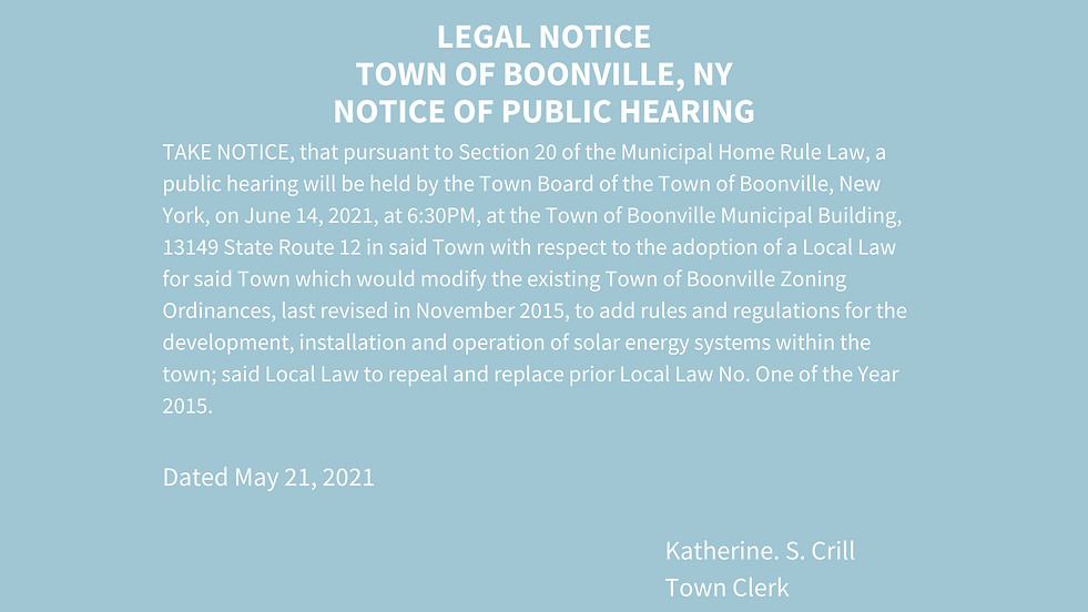 LEGAL NOTICE TOWN OF BOONVILLE, NY NOTIC