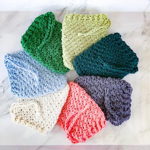 Hand-Crocheted Drawstring Soap Sock