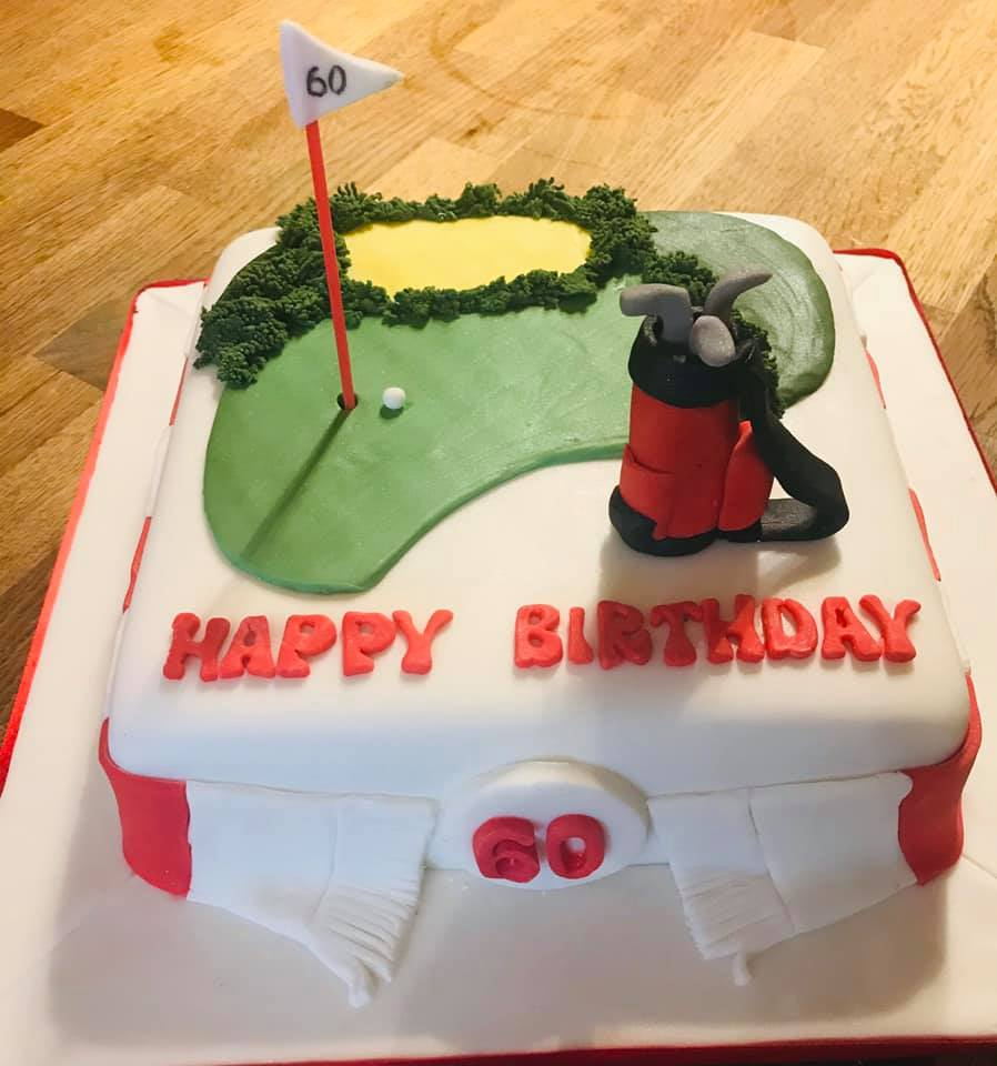 Golf brithday cake with a football scarf