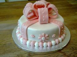 Pink Bow themed birthday cake