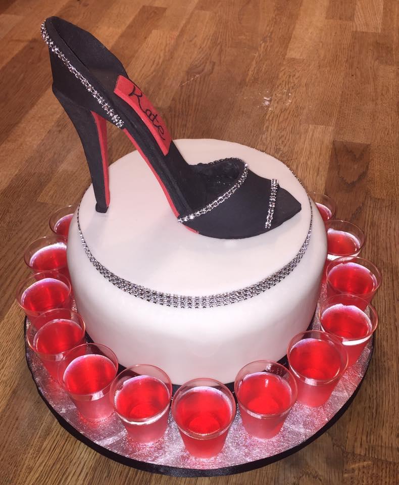 Fondant Shoe cake with Vodka Shots