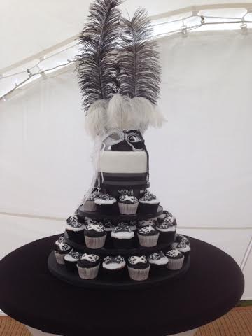 Masked ball tower cake