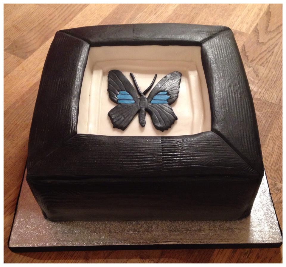 Picture frame cake with butterfly
