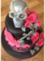 Skull and Rose Birthday Cake