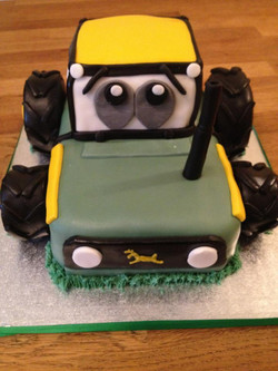 Tractor shaped cake