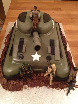 Tank themed cake