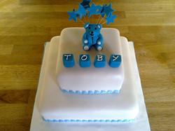 2 tier Teddy christening Cake
