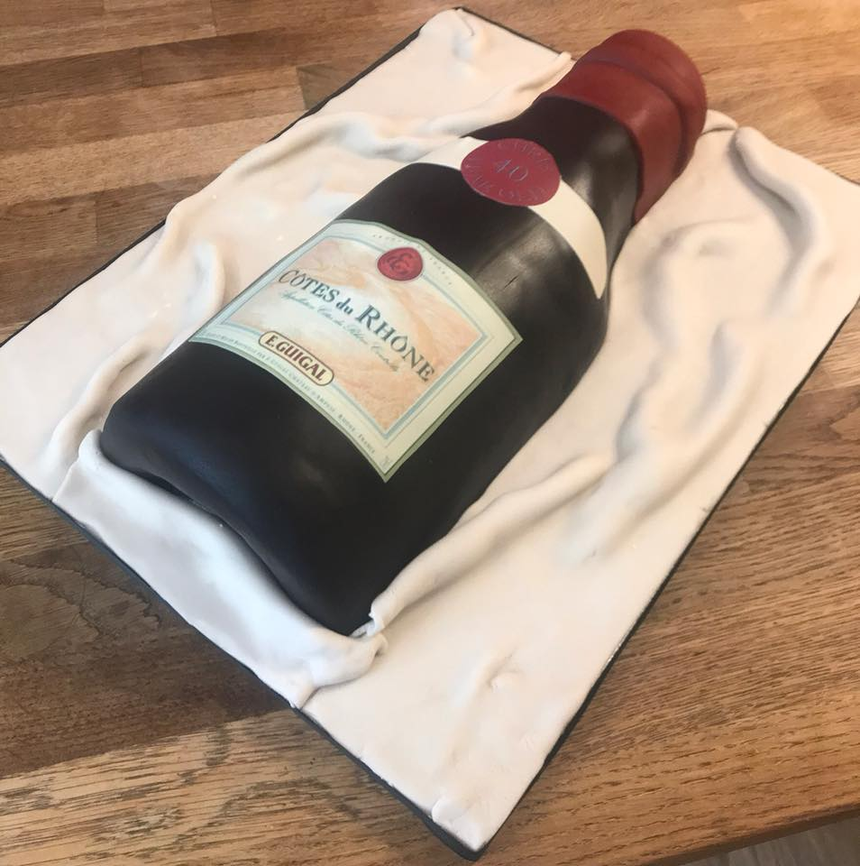 Red Wine Bottle Cake