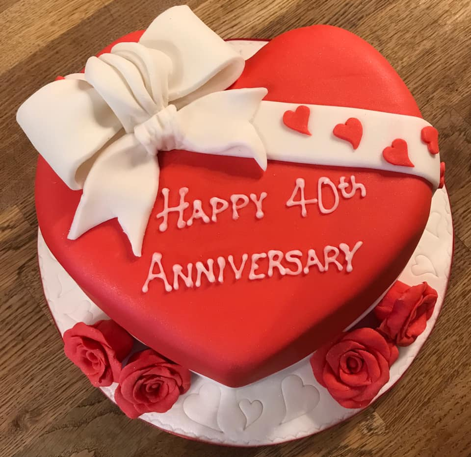 40th Anniversary Heart Cake