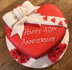 40th Anniversary Heart Cake
