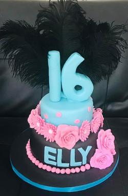 2 Tier 16th Birthday Cake