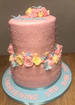 Pretty Flower Christening Cake