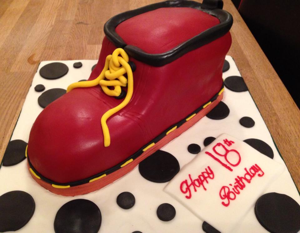 Red Boot themed birthday cake