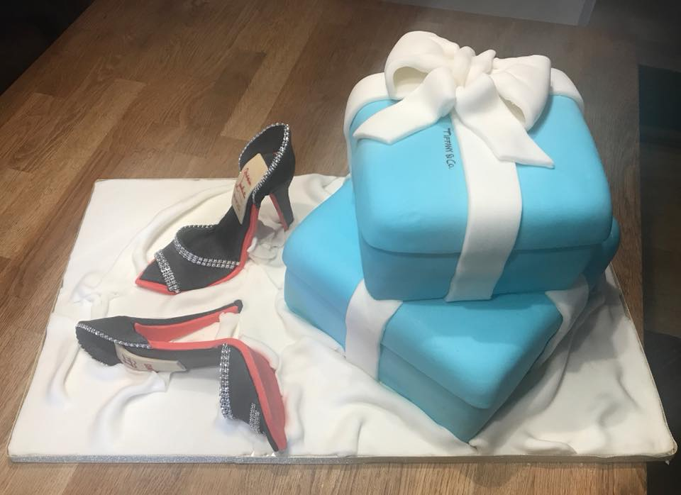 Tiffany Box Cake with Fondant Shoes