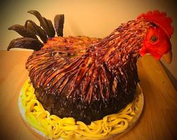 Chicken themed cake