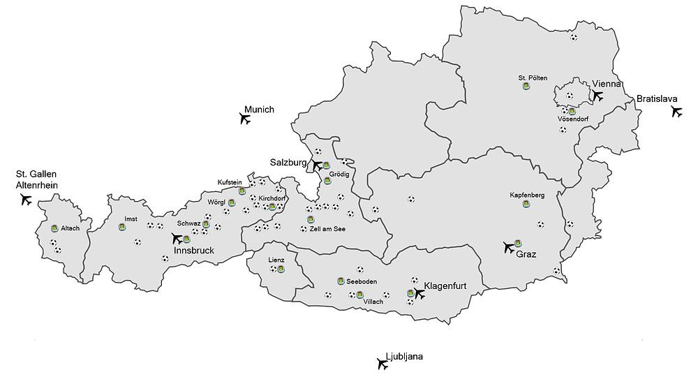 Auswahl unserer Standorte in Österreich