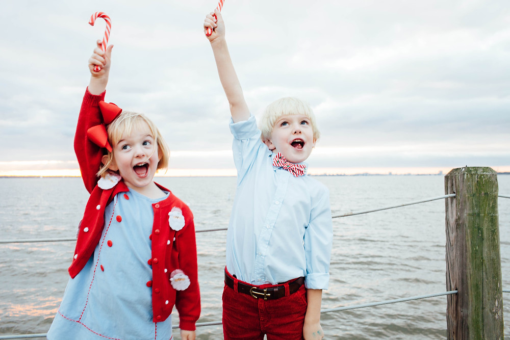 brother and sister photo excited about candy canes
