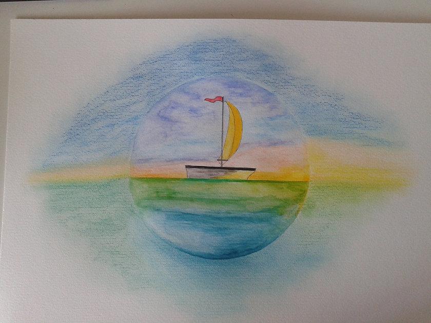 Desenho de um barco a vela feito com lápis aquarelável e giz pastel seco.