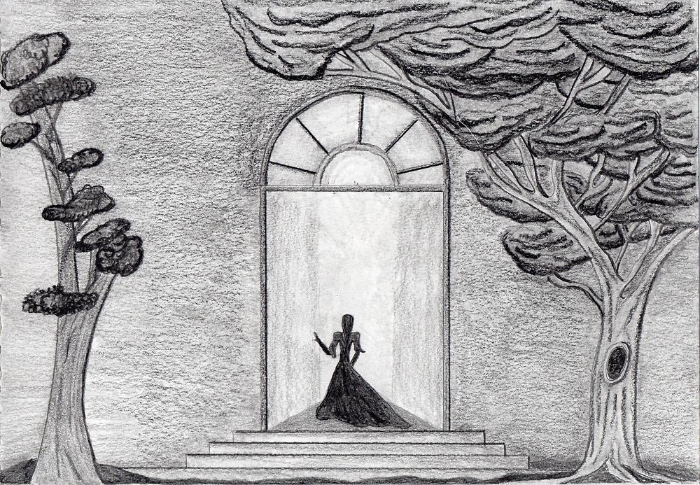 Uma mulher de vestido longo entra em uma enorme porta. (desenho em grafite)