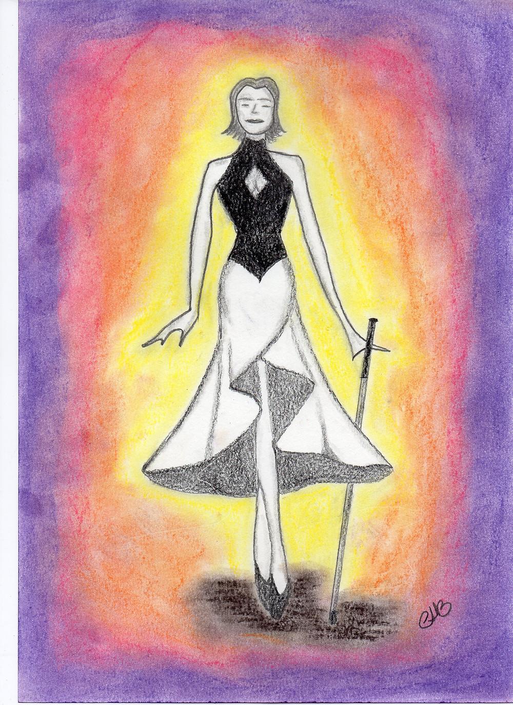 Uma bela moça, desenhada a lápis, de corpo esbelto, segurando uma guia para cegos. O fundo degradê, com tons de amarelo, laranja e roxo, onde, o amarelo está no contorno da moça e o roxo nas bordas da imagem.
