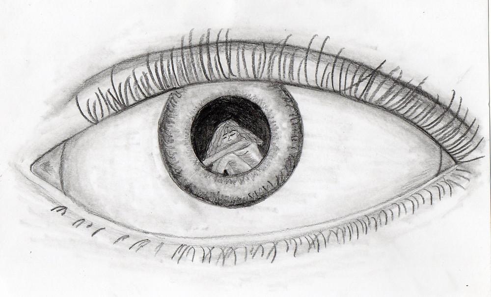 Um olho, dentro da pupila uma moça sentada.