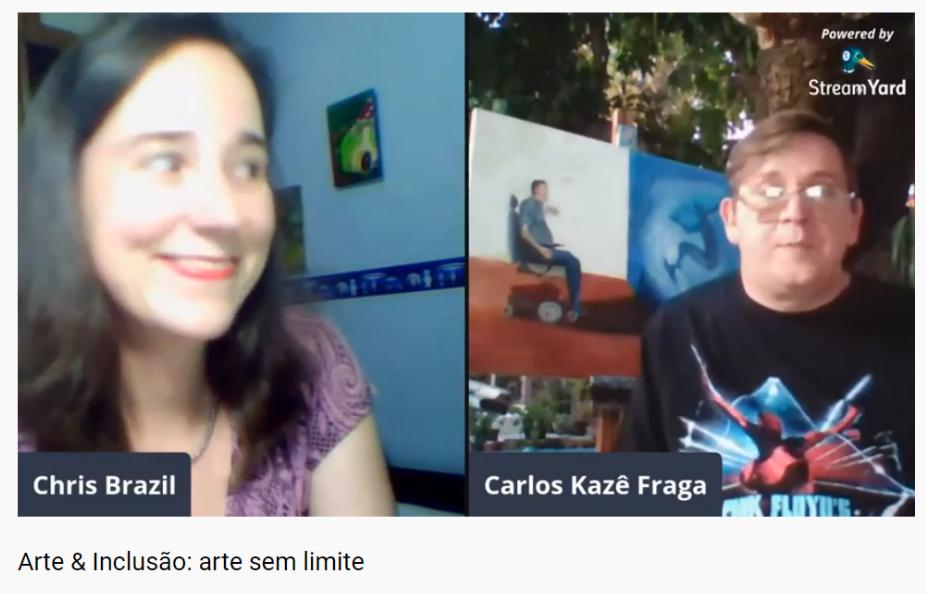 Imagem da tela da live no YouTube, Chris Brazil, a esquerda, e Kazê Fraga, a direita.