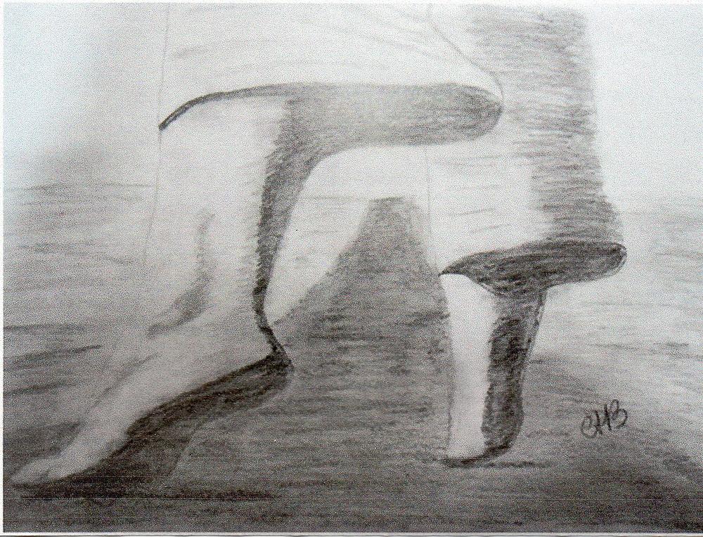 Desenho à lápis: pés descalços caminhando por uma estrada.