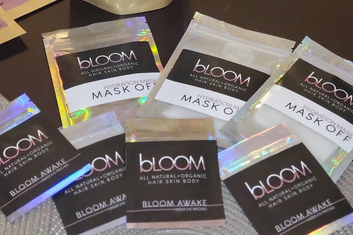 Bloom Hydration Combo/Mask Off Mask and Bloom AWAKE under eye patches