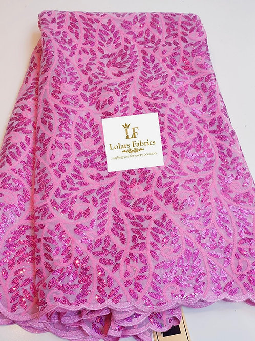 Temilewa Luxury Pink Sequinned Lace Fabric