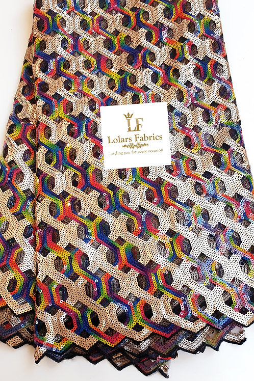 Rolayo Gold multicolored sequinned lace Fabric