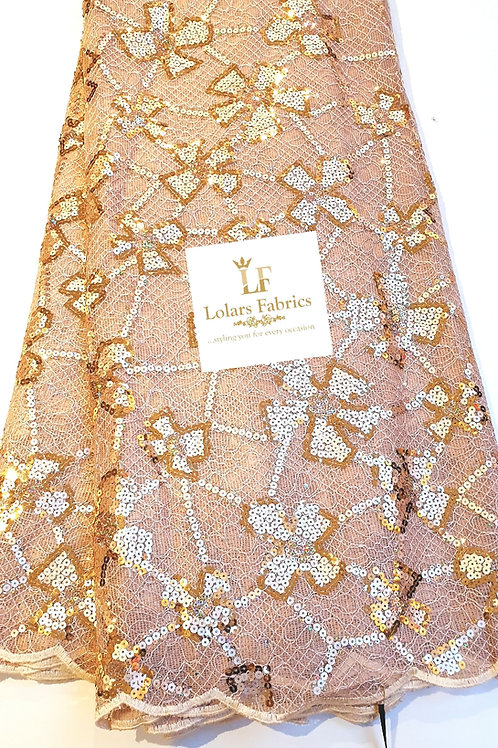 Oyinkan Luxury Gold on gold sequins chantilly lace