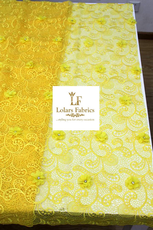 Swish Yellow Embroidered Net Lace with 3d Stoned Chiffon