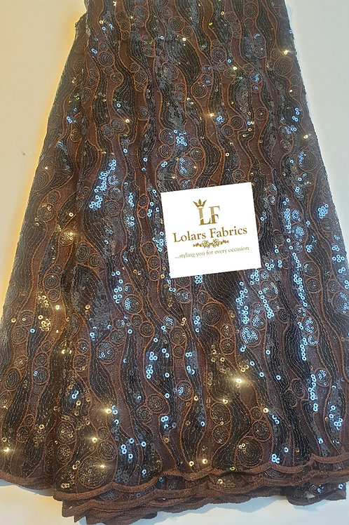 Venus in Hot chocolate brown sequins lace fabric