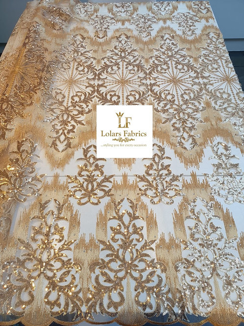 Adetola Regal gold tulle sequinned lace
