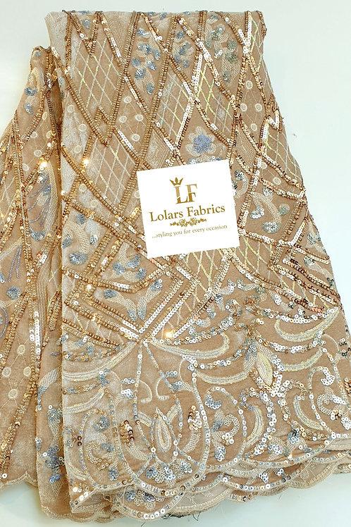 Jenrola lush sequinned Beigish gold velvet lace fabric